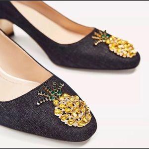 Zara Denim with Pineapple 🍍 Shoes